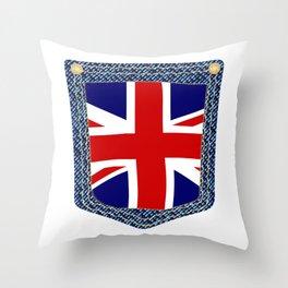 Union Jack Denim Pocket Throw Pillow