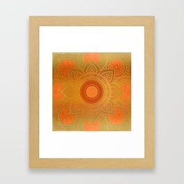 """Savanna Orange-Gold Mandala"" Framed Art Print"
