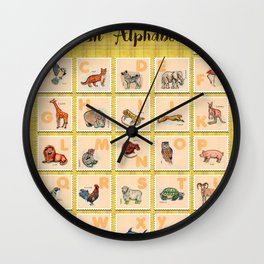 hand drawn animals poster for all English letters Wall Clock