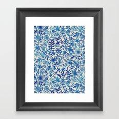 Floating Garden - a watercolor pattern in blue Framed Art Print