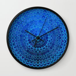 Blue Flower Mandala Wall Clock