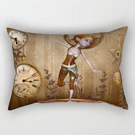 Cute little steampunk girl with clocks and gears Rectangular Pillow
