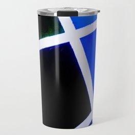 Blue and black broken glass pattern Travel Mug