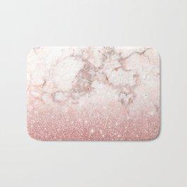 Elegant Faux Rose Gold Glitter White Marble Ombre Bath Mat