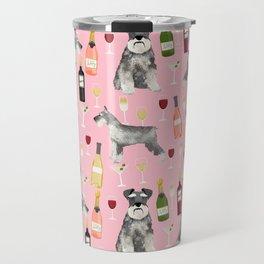 Schnauzer wine champagne cocktails rose dog breed pattern Travel Mug