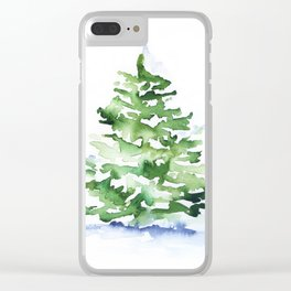 Watercolor Pine Tree Clear iPhone Case