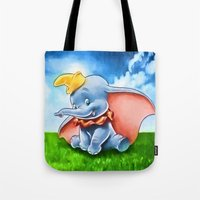 dumbo Tote Bags featuring Dumbo by DisPrints