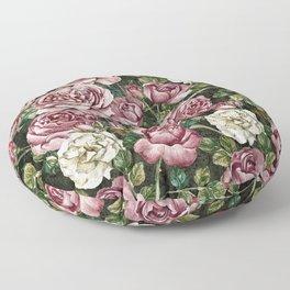 Vintage & Shabby chic -  Retro Roses Flower Garden Pattern Floor Pillow