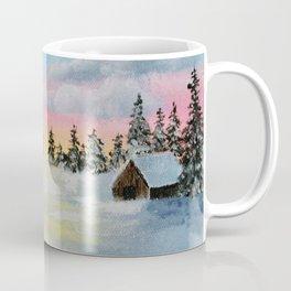 Winter Sunset Snow Scene Painting Coffee Mug