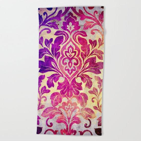 Purple Damask Pattern Beach Towel