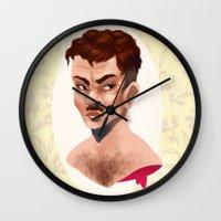 lydia martin Wall Clocks featuring Martin by gravityjump