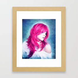 ' Pink Head ' - sensual lady digital oil portrait painting Framed Art Print