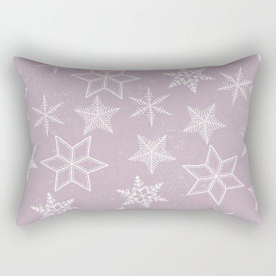 Snowflakes on pink background Rectangular Pillow