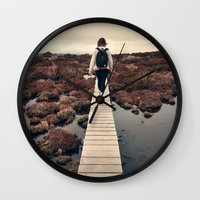 boardwalk empire Wall Clocks featuring Boardwalk by James McKenzie