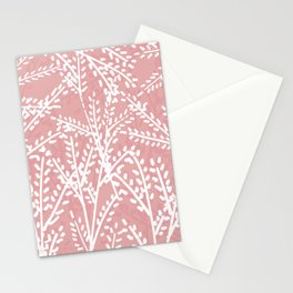 Pink Leaves Stationery Cards