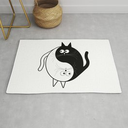 White and Black Cat Yin Yang Rug