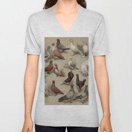 Vintage Pigeon Breeds Chart Unisex V-Neck