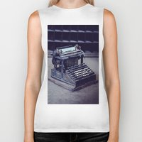 typewriter Biker Tanks featuring Typewriter by Kerri Ann Crau