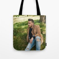 liam payne Tote Bags featuring Liam Payne by behindthenoise