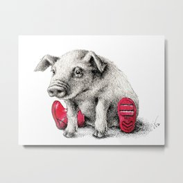 Piggy in Welly Metal Print