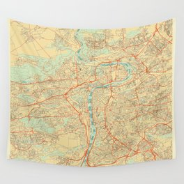 Prague Map Retro Wall Tapestry