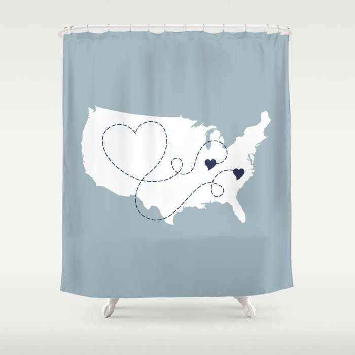 Personalized Usa Map Love Story Shower Curtain By Lexiphile