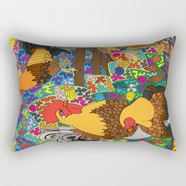 Happy Birds - Chicken and Rooster Rectangular Pillow