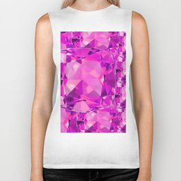 FUCHSIA PINK TOURMALINE FACETED GEMS  ART Biker Tank