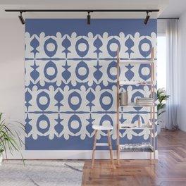 Blue Yoga Pattern Wall Mural