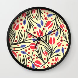 Waves of Flower (Bright Color Floral) Wall Clock