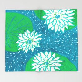 Water Lillies Throw Blanket