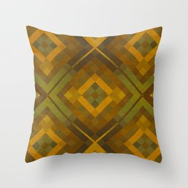 twyla - gold green brown textured geometric pattern Throw Pillow