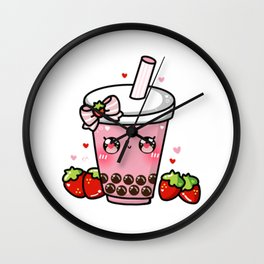 Strawberry Bubble Tea Wall Clock