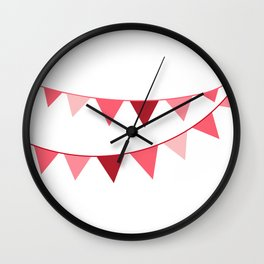 Red berry Pennant Banner Wall Clock