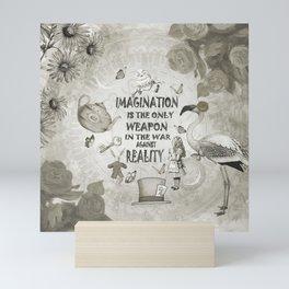 Imagination - Vintage Black & White - Alice In Wonderland Mini Art Print