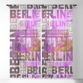 Berlin pop art typography illustration Sheer Curtain