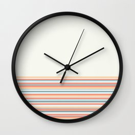 Cuff Stripes - Minimalist Color Block Solid Stripe Pattern in Apricot Cream and Light Blue on Off-White Wall Clock