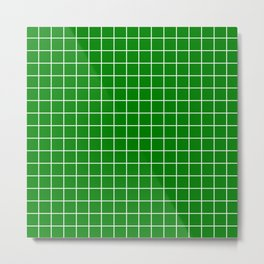 Green (HTML/CSS color) - green color - White Lines Grid Pattern Metal Print