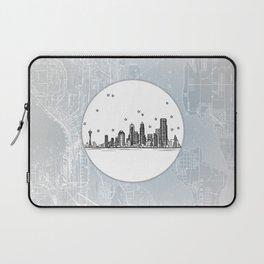 Seattle, Washington City Skyline Illustration Drawing Laptop Sleeve