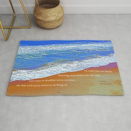 """Waves Of Rincon Beach #2"" with poem: Enduring Ocean Rug"