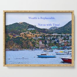 """""""Catalina Harbor""""/ """"Time"""" Serving Tray"""