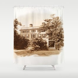 Vintage Sketched House in Sepia Shower Curtain