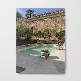 Serenity By the Pool Metal Print
