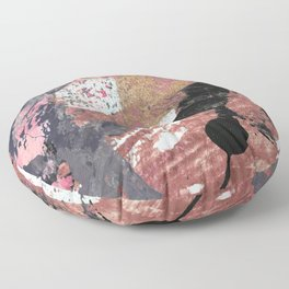 01015: colorful pink purple and gold abstract Floor Pillow
