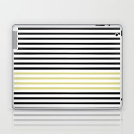 Black and White and Gold Stripes (Striped Pattern) Laptop & iPad Skin