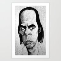 nick cave Art Prints featuring Nick Cave by Mr Shins