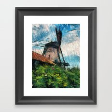 skatching windmill  Framed Art Print