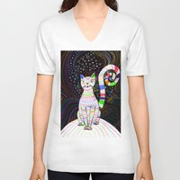 space cat V-neck T-shirts featuring Space cat by ezgi karaata