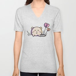 Cute Kawaii Spring Mouse and Flowers Unisex V-Neck