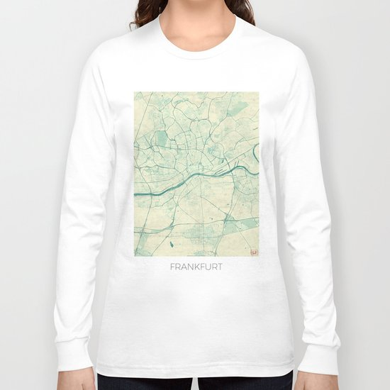 Frankfurt Map Blue Vintage Long Sleeve T-shirt